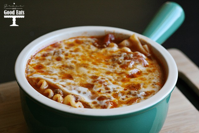 lasagna soup in a small green soup bowl