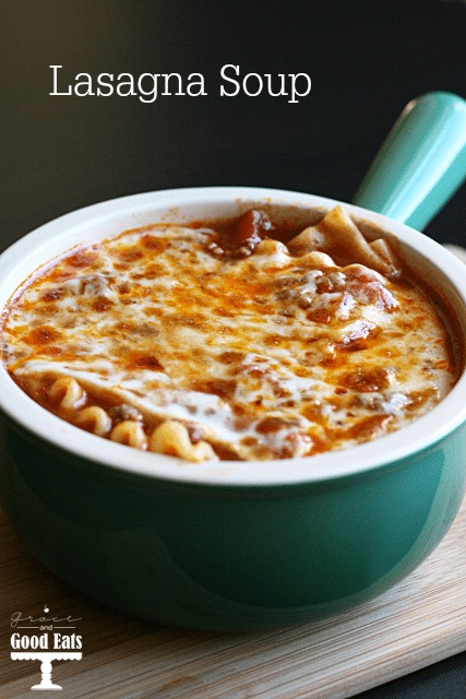 lasagna soup in a small soup bowl