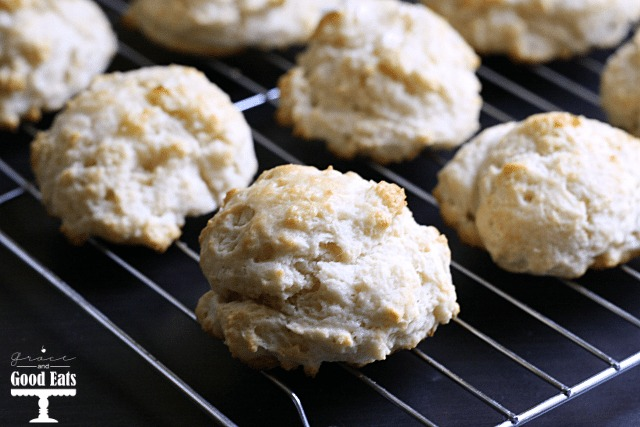 homemade drop biscuits on a wire cooling rack