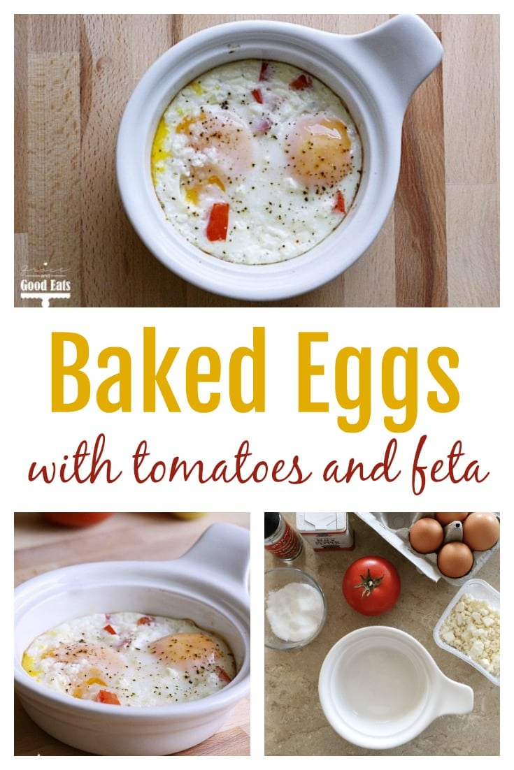 Delicious, creamy baked eggs with ripe tomatoes and flavorful feta cheese.  A must-make dish for breakfast or dinner!