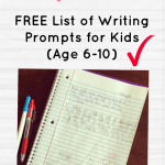 """Download this free list of story starters/ writing prompts for kids to help your kids journal over the summer. Prompts like: """"If you could create a new law in your town, what would it be?"""" Or """"The mailman has delivered a box too big to fit in the house. Write about what might be in the box."""""""