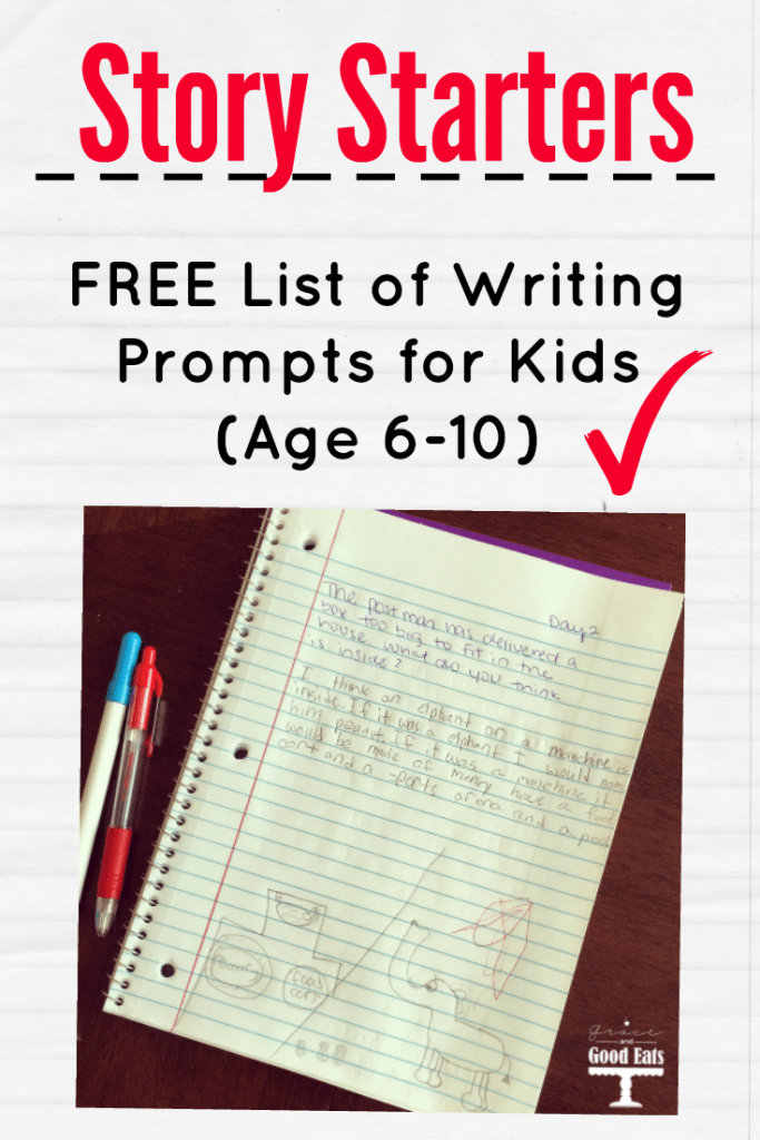 "Download this free list of story starters/ writing prompts for kids to help your kids journal over the summer. Prompts like: ""If you could create a new law in your town, what would it be?"" Or ""The mailman has delivered a box too big to fit in the house. Write about what might be in the box."""