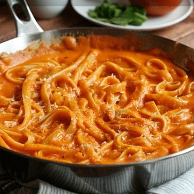 Roasted Red Pepper Parmesan Fettuccine