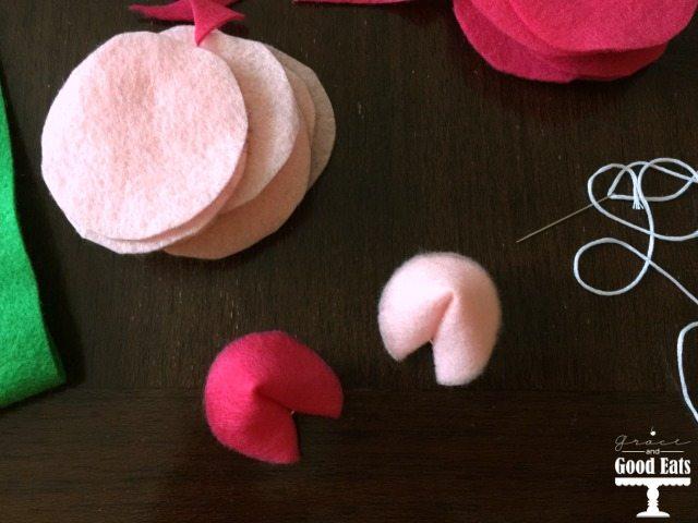 pink felt fortune cookies