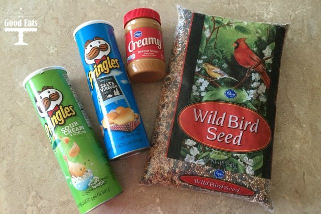 materials to make a DIY bird seed feeder