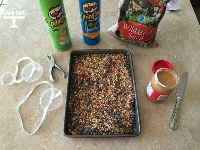 baking sheet filled with bird seed