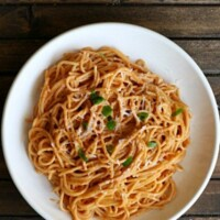 """A quick and easy pasta recipe for one using """"leftover"""" ingredients found in your fridge!"""