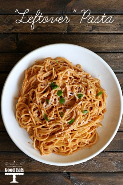 "A quick and easy spaghetti for one recipe using ""leftover"" ingredients found in your fridge!"
