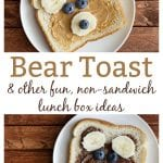 Teddy Bear Toast made with peanut butter or chocolate hazelnut spread and fresh fruit.  You only need four ingredients to create these adorable little bears that are almost too cute to eat.