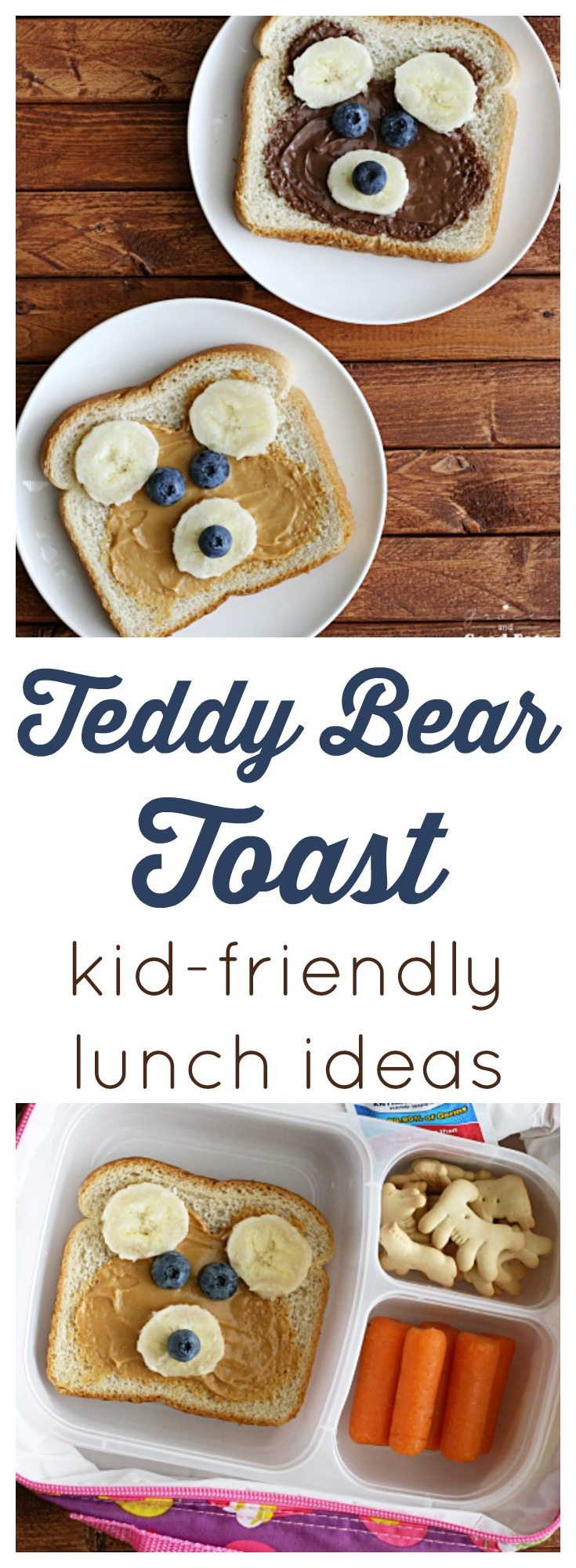 Easy Teddy Bear Toast lunchbox idea! Cute with peanut butter or Nutella!