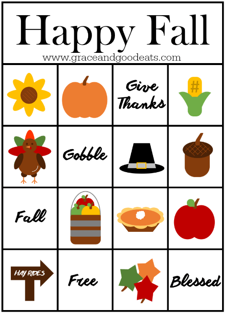 Happy Fall Bingo Cards- FREE PRINTABLE. Perfect to keep the kids busy during all the cooking
