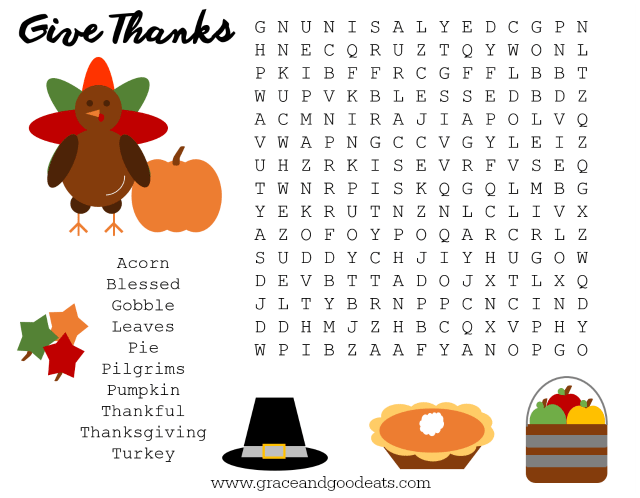 It is a photo of Printable Thanksgiving Wordsearch inside thankful