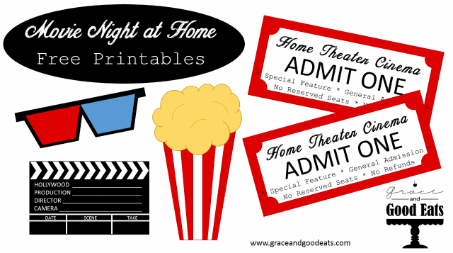 Free Movie Night at Home Printables- everything you need to host a fun movie night party!
