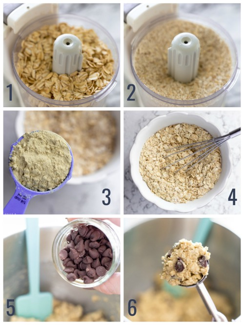 oats in a food processor, a scoop of protein powder, oats in a bowl, adding chocolate chips to a mixing bowl, and a scoop of cookie dough