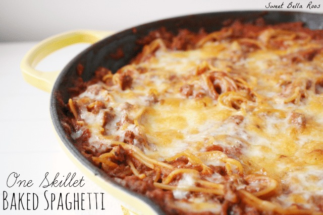 Skillet spaghetti in a yellow cast iron skillet.