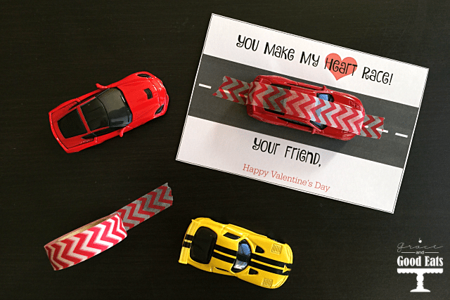Race Car Valentine's Day Cards- free printable. Use washi tape and matchbox cars from the dollar store to finish these off. So cute!