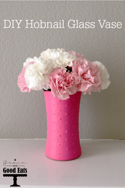 This DIY Hobnail Glass Vase is so easy to make and looks so pretty filled with fresh flowers