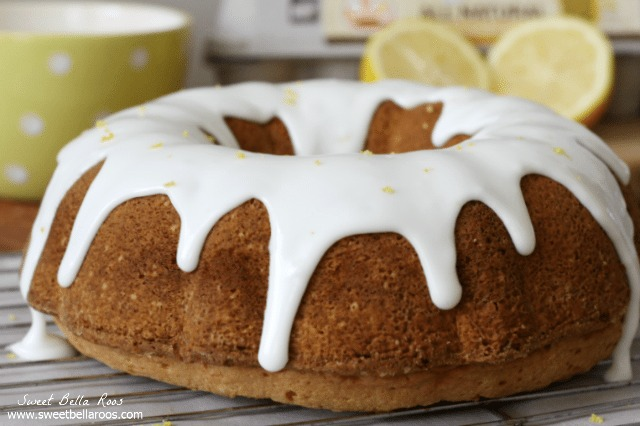 lemon bundt cake with thick lemon glaze on wire rack