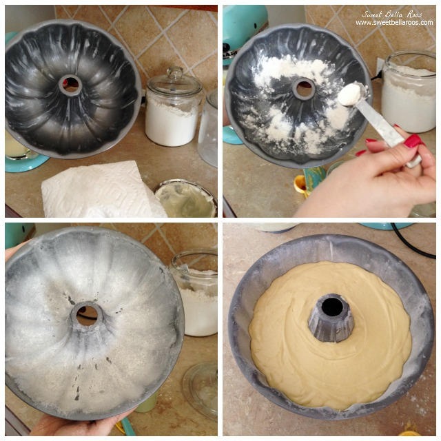 collage showing how to grease and flour a bundt pan