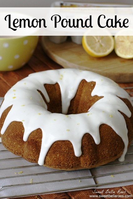 moist lemon pound cake with thick lemon glaze on wire rack