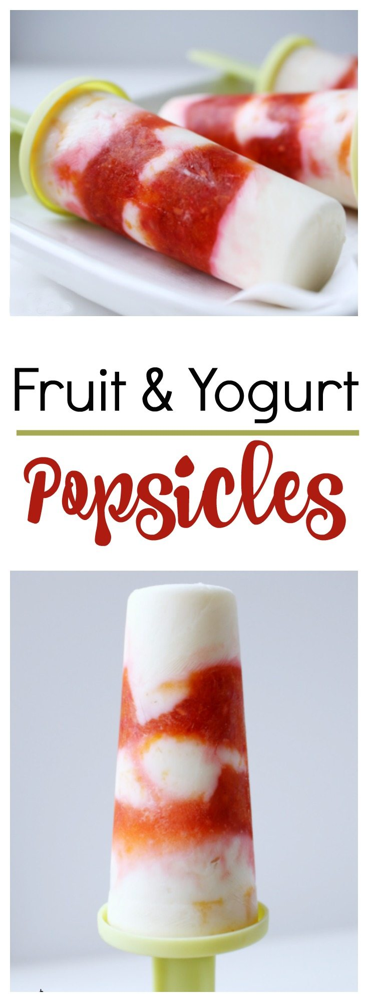 These Fruit and Yogurt Pops are the perfect summertime treat! Mix plain or vanilla yogurt with your favorite fruit to make these easy and refreshing fruit and yogurt popsicles.
