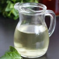small pitcher of mint simple syrup