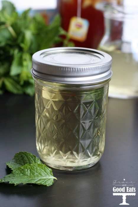small mason jar with lid of mint simple syrup
