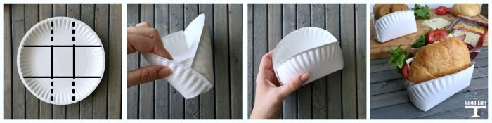 steps to make a paper plate pocket