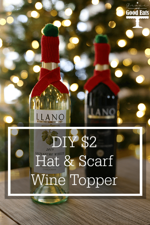 Adorable Hat and Scarf Wine Topper- Perfect for gifting!! Tutorial + Video to make these super easy wine toppers. These would make great Christmas gifts.