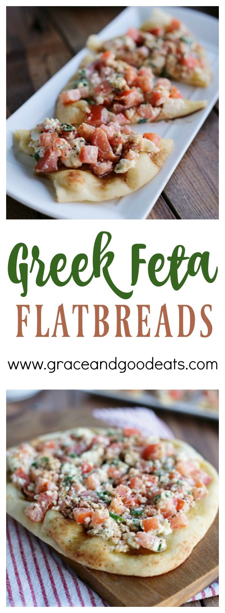 This Greek Feta Flatbread is like summer on a plate. Would be great for game day, too!Slice to share or serve as a personal sized pizza.