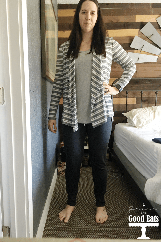Sitch Fix Review: This month I requested loungewear. Stitchfix sent me the Campbelle Ribbed Knit Top, Danay Striped Open Drape Cardigan, Madrella Knit Pocket Tank, Colibri Solid Tab Sleeve Blouse, and Camilla Fleece Lined Drawstring Jogger Pants.