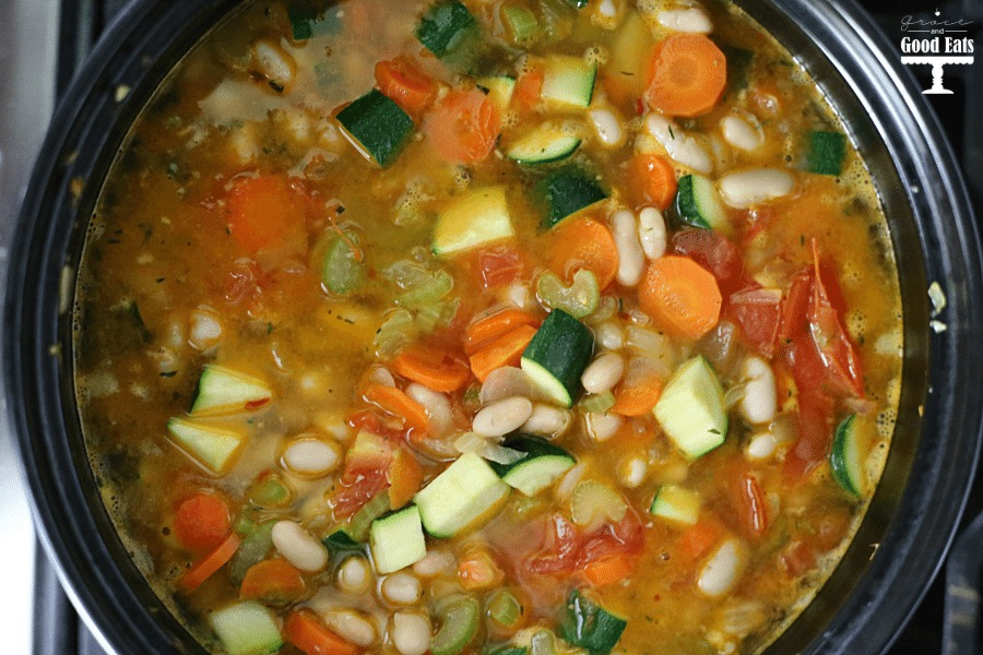 Overhead view showing how to make tuscan soup.