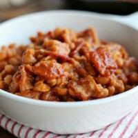 These Bacon Baked Beans are loaded with bacon, so simple to make, and full of sweet, tangy flavor.