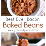 These Bacon Baked Beans are loaded with bacon, so simple to make, and full of sweet, tangy flavor.  The perfect side dish for a family BBQ or potluck.