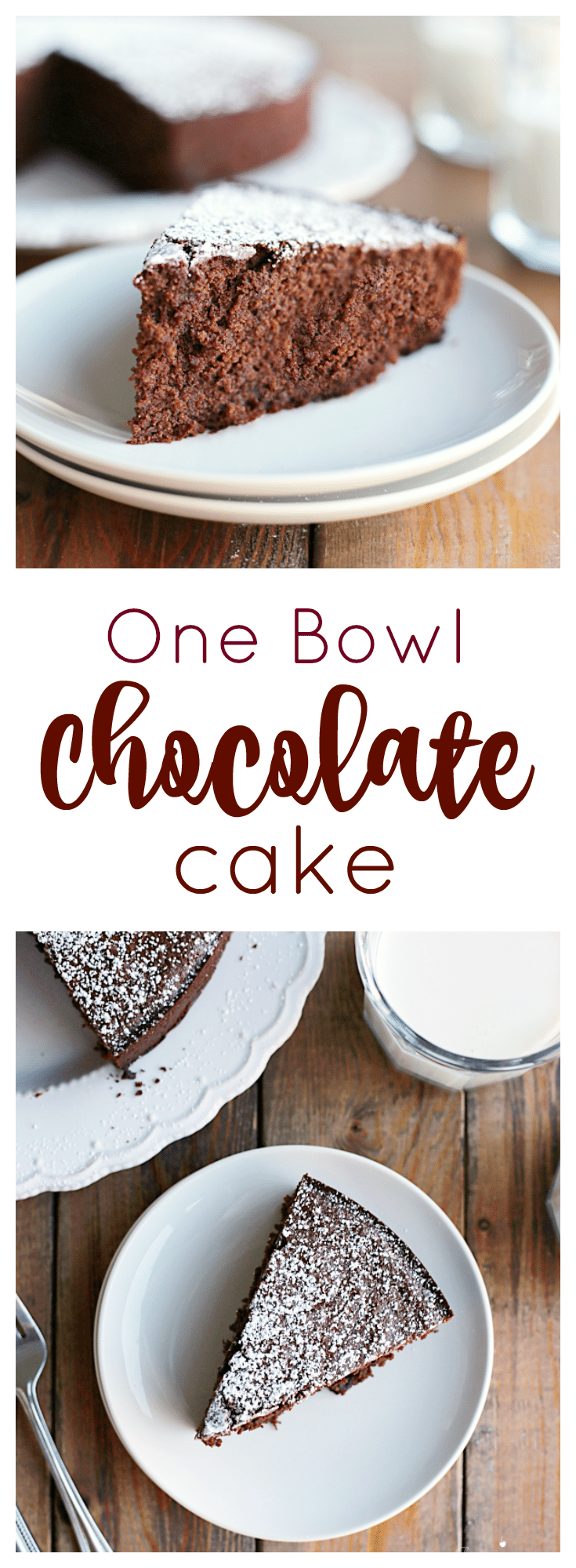 This one bowl chocolate cake is perfect when you have unexpected company or are craving something sweet. Dust the chocolate cake with powdered sugar for an easy presentation.