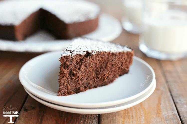 slice of one bowl chocolate cake on a white plate