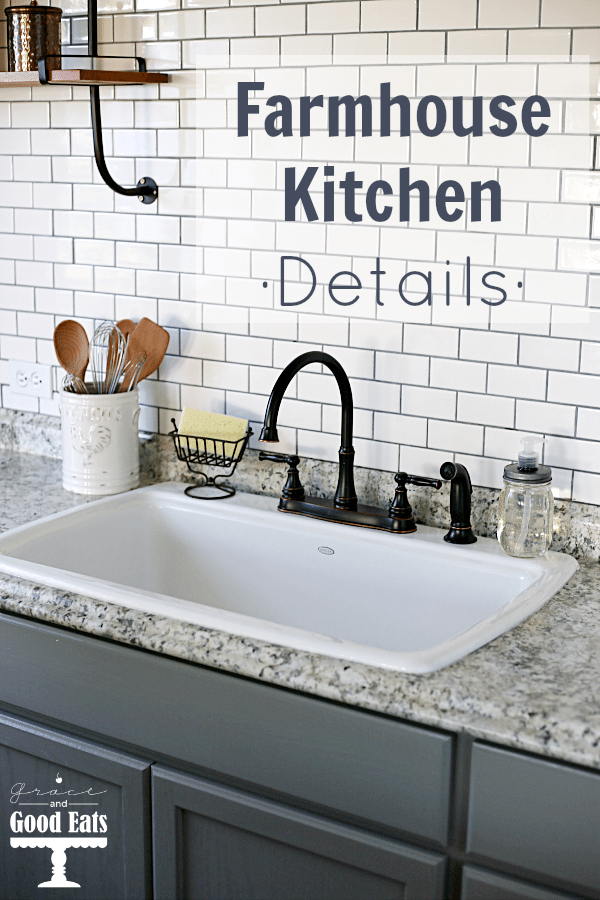 Love the way this farmhouse kitchen space turned out! Added subway tile, an open sink, and a new faucet to achieve that farmhouse look