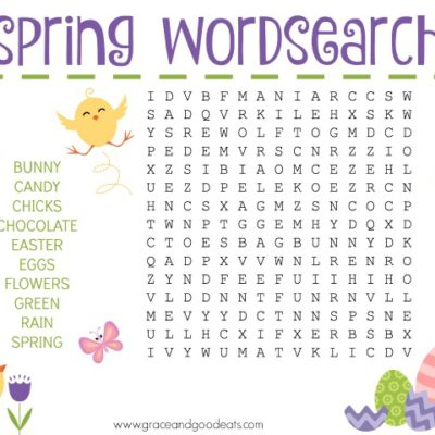 photograph regarding Free Printable Spring Word Search identified as Do it yourself Archives - Grace and Fantastic Eats