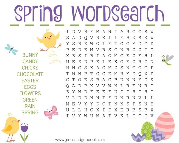 picture about Free Printable Easter Word Search named Spring Phrase Appear - Free of charge Printable - Grace and Terrific Eats