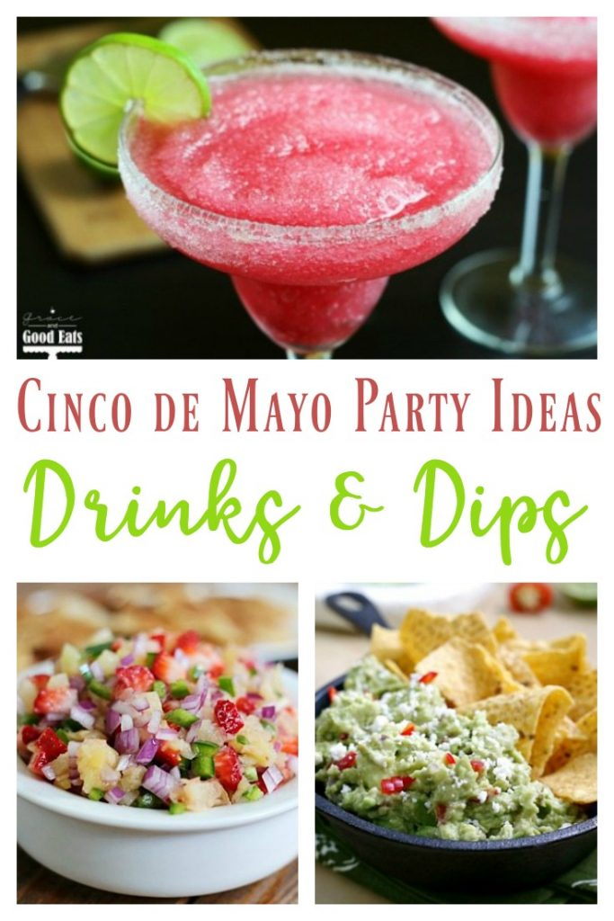 If you're looking for Cinco de Mayo party ideas, these dips and drinks are the perfect way to kick off your  festivities.  Start with Queso Fresco Guacamole or Beef Enchilada Dip and end with a refreshing Raspberry Lime Agua Fresca or Frozen Cranberry Margarita.