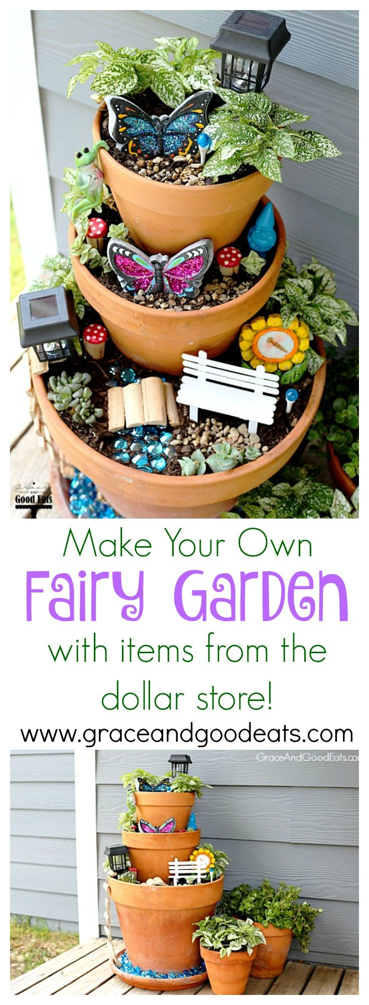 An easy tutorial on how to make your own DIY Fairy Garden.  I made this fairy garden with my kids after we found tons of cute, inexpensive supplies at our neighborhood dollar store.