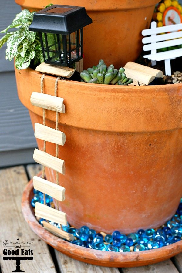 fairy garden rope ladder hanging from pot