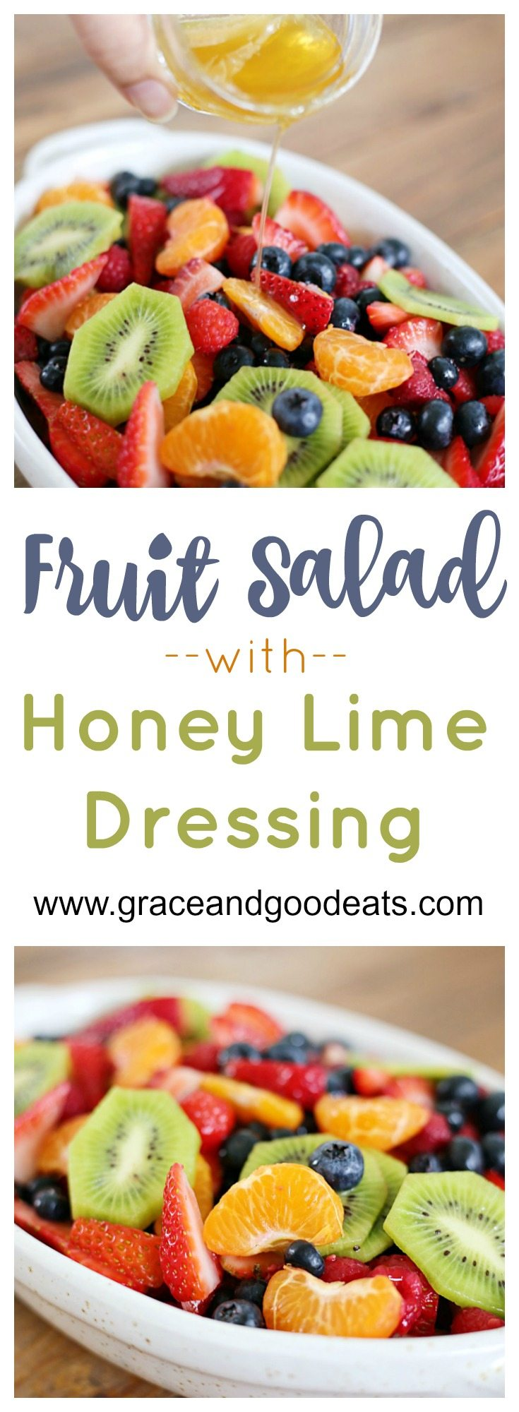 This fruit salad with honey lime dressing is the only recipe you need for all of your summer celebrations!  It is my go-to recipe when I need to bring dish to a BBQ or picnic.  Fresh, colorful berries paired perfectly with a honey lime glaze you will want to eat with a spoon.