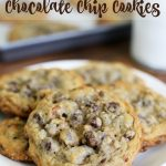 These chocolate chip cookies are akin to the famous chocolate chip cookies that some hotels greet you with upon arrival or serve during turn down service. These cookies are HUGE and loaded with chocolate chips and pecans.