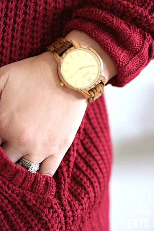 beautiful JORD wood watch on a woman's wrist when her hand partially in a pocket
