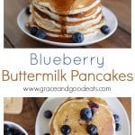 "These Blueberry Buttermilk Pancakes are perfect for Sunday morning! Homemade pancakes that are sweet, fluffy, and bursting with blueberries. (Don't worry if you don't have any buttermilk, this recipes uses the ""buttermilk substitute"" of milk and lemon.)"