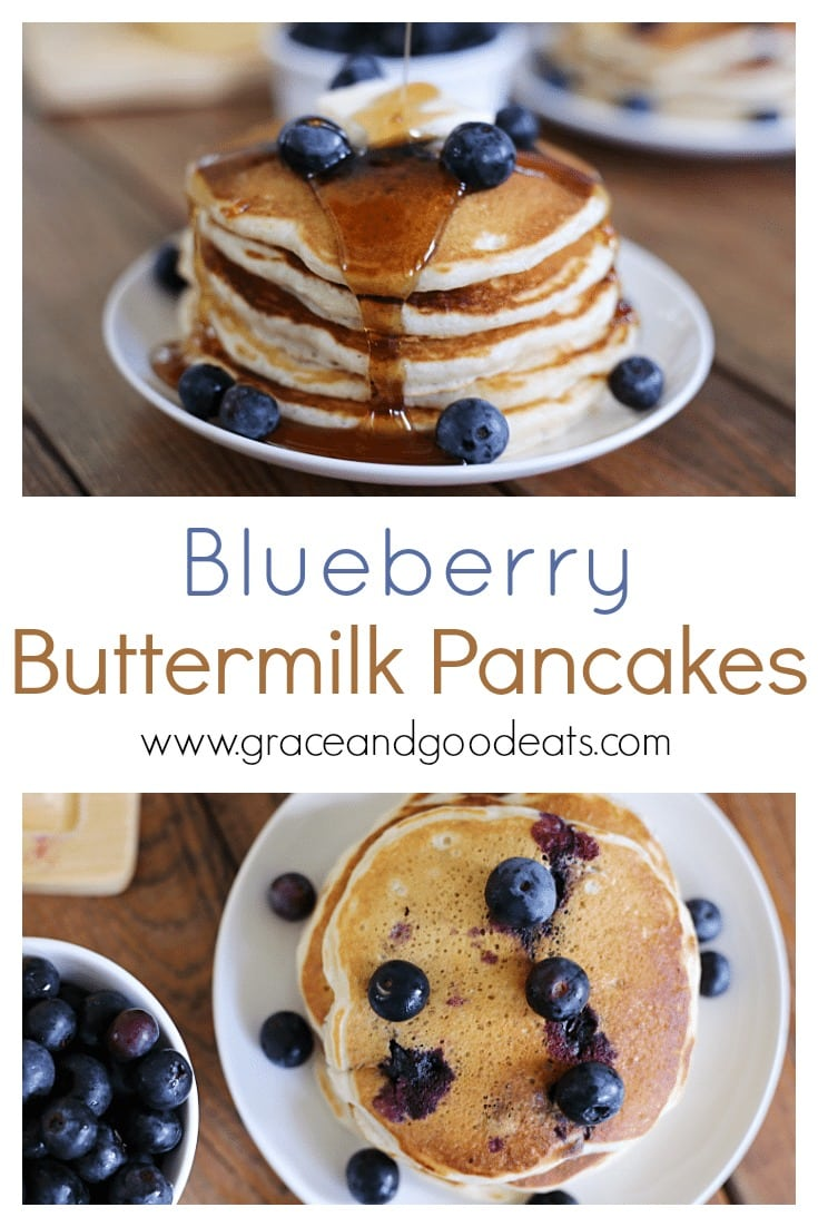 These Blueberry Buttermilk Pancakes are perfect for Sunday morning! Homemade pancakes that are sweet, fluffy, and bursting with blueberries. (Don't worry if you don't have any buttermilk, this recipes uses the