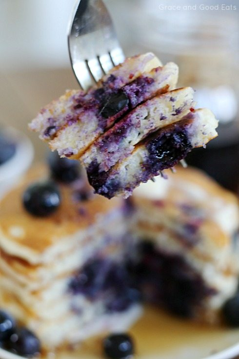 pieces of blueberry pancakes on a fork