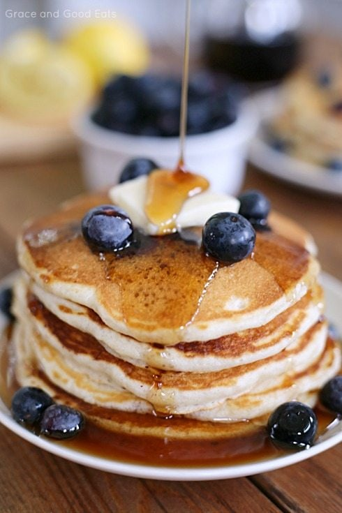 Best ever homemade pancakes recipe grace and good eats stack of pancakes topped with a pat of butter and blueberries ccuart Images