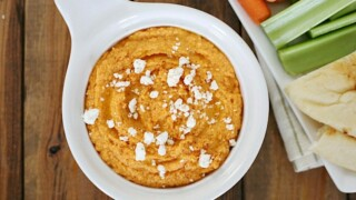 Roasted Red Pepper Hummus with Feta